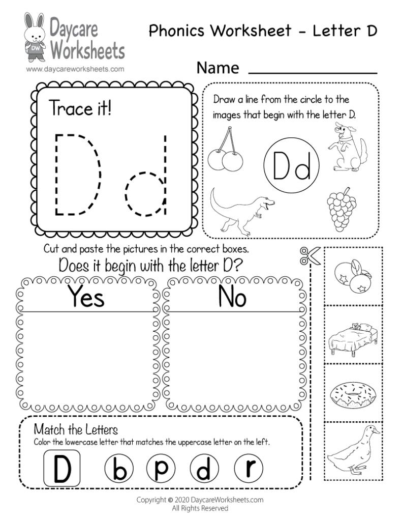 Free Letter D Phonics Worksheet For Preschool   Beginning Sounds