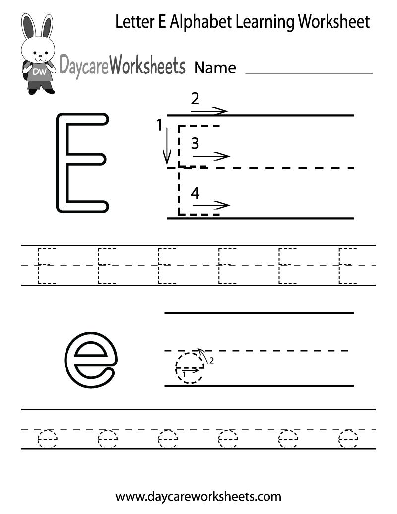Free Letter E Alphabet Learning Worksheet For Preschool for Letter E Tracing Sheets