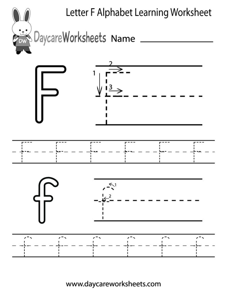 Free Letter F Alphabet Learning Worksheet For Preschool Throughout Letter F Worksheets Kidzone