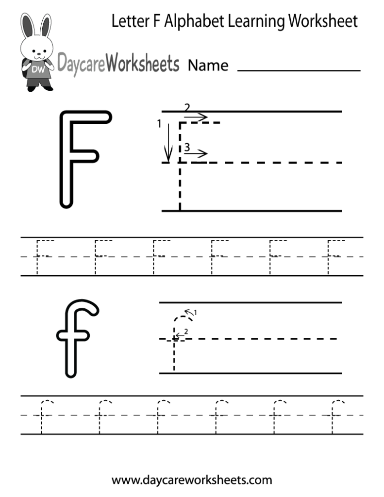 Free Letter F Alphabet Learning Worksheet For Preschool With Regard To Letter F Tracing Sheet