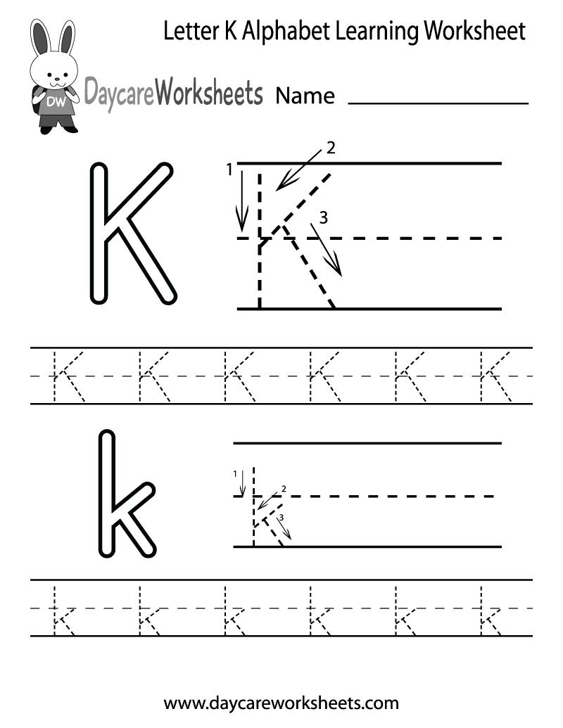 Free Letter K Alphabet Learning Worksheet For Preschool within Letter K Alphabet Worksheets