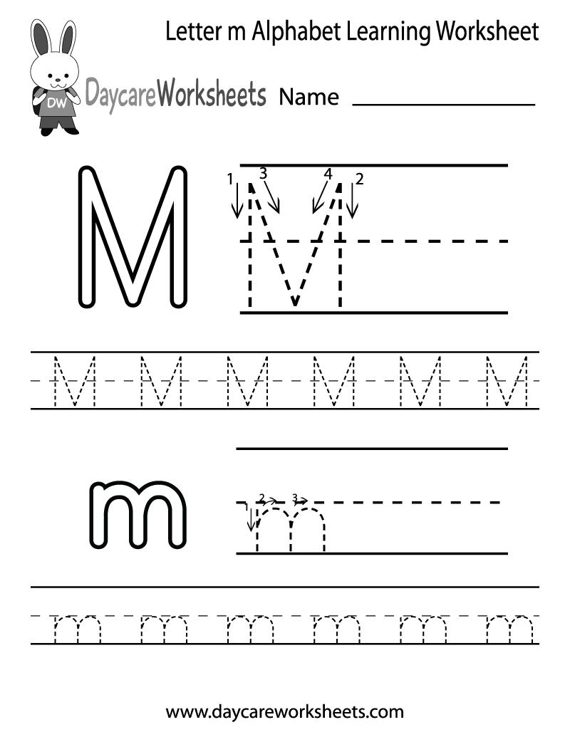 Free Letter M Alphabet Learning Worksheet For Preschool throughout Letter M Worksheets Pdf