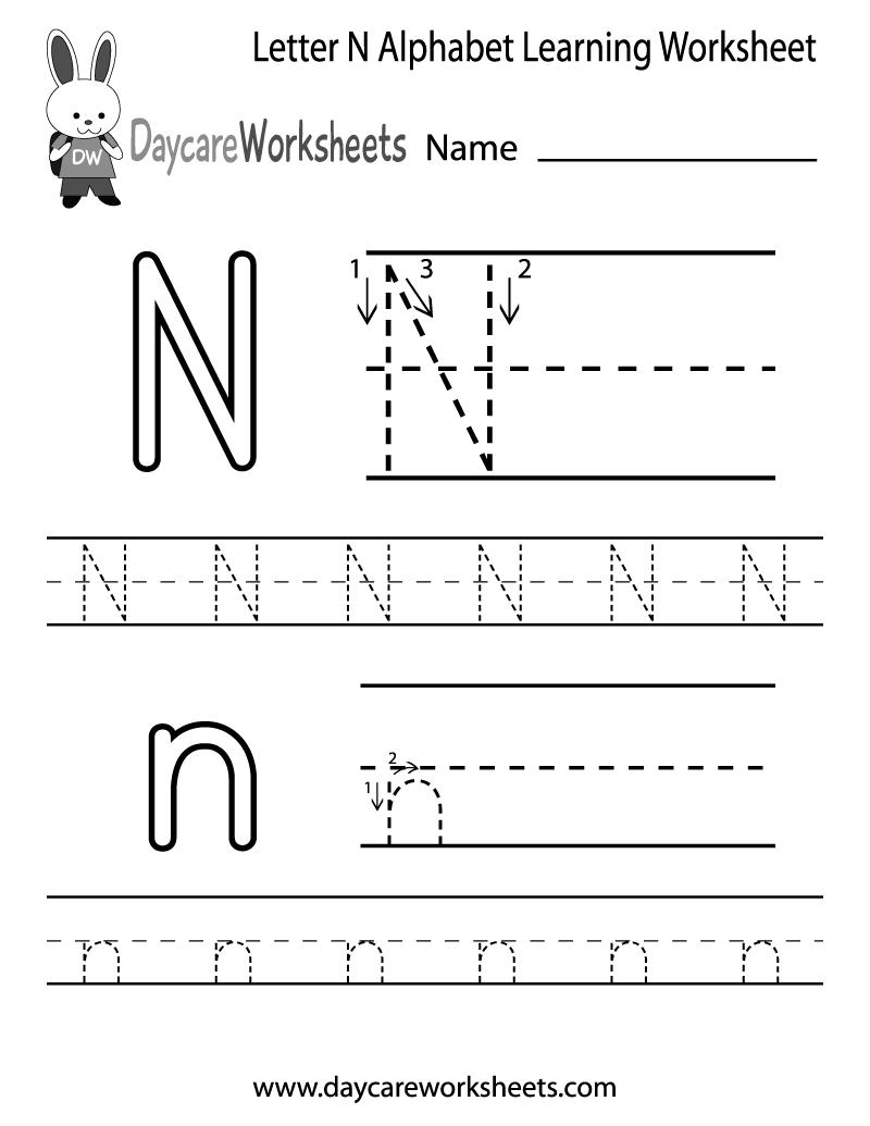 Free Letter N Alphabet Learning Worksheet For Preschool with N Letter Worksheets