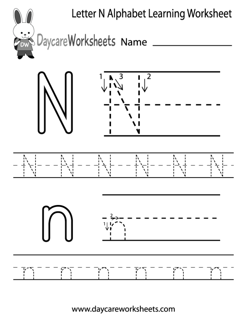 Free Letter N Alphabet Learning Worksheet For Preschool Within Letter N Tracing Page