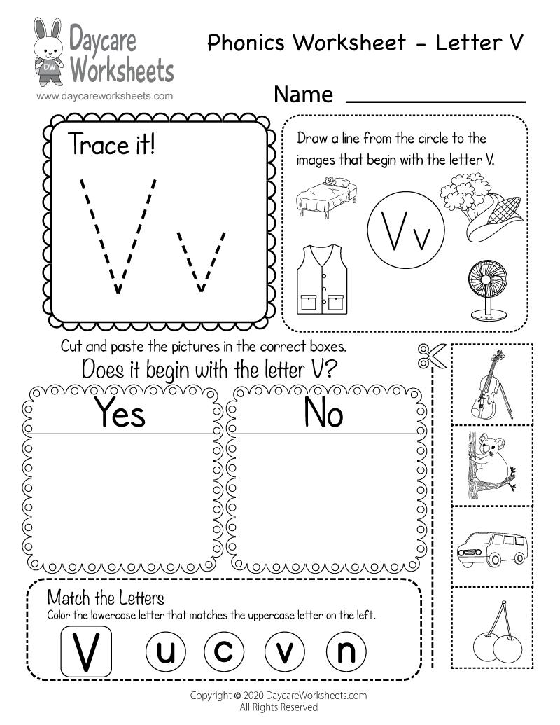 Free Letter V Phonics Worksheet For Preschool - Beginning Sounds inside Letter V Worksheets Pdf