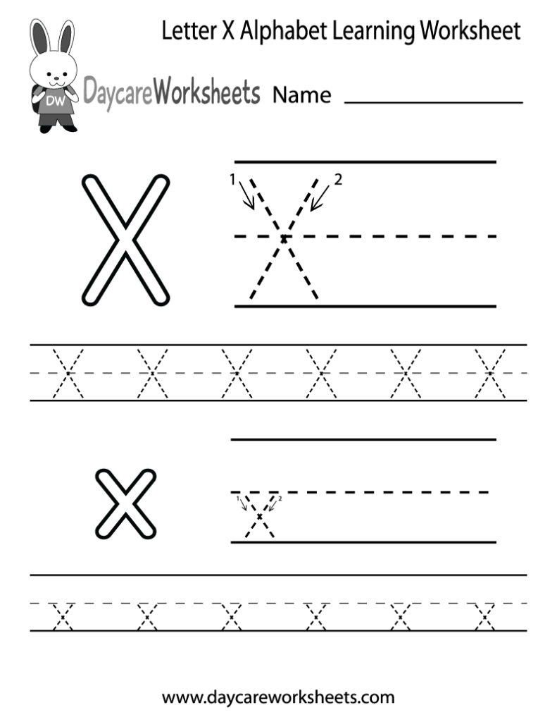 Free Letter X Alphabet Learning Worksheet For Preschool Within Letter X Tracing Page