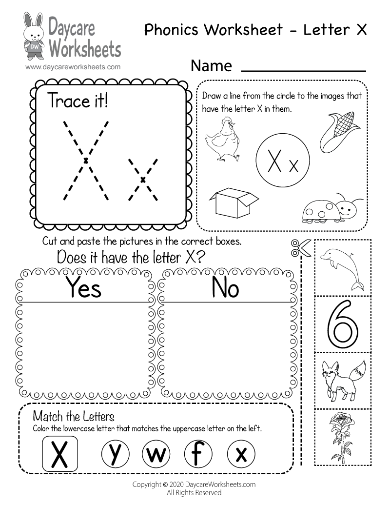 Free Letter X Phonics Worksheet - Learn Letter X Sounds