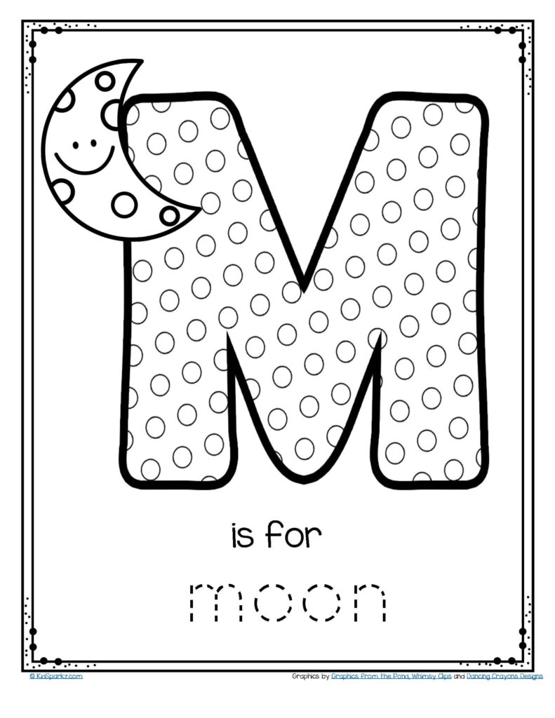 Free M Is For Moon Alphabet Letter Printable. #alphabet Throughout Letter M Worksheets For Toddlers