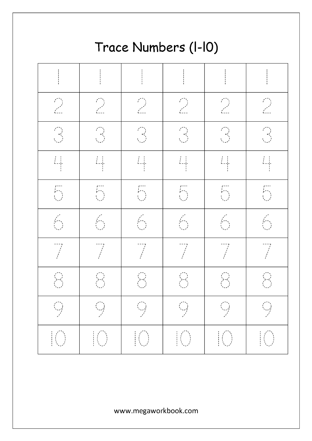 Free Math Worksheets - Number Tracing And Writing (1-10