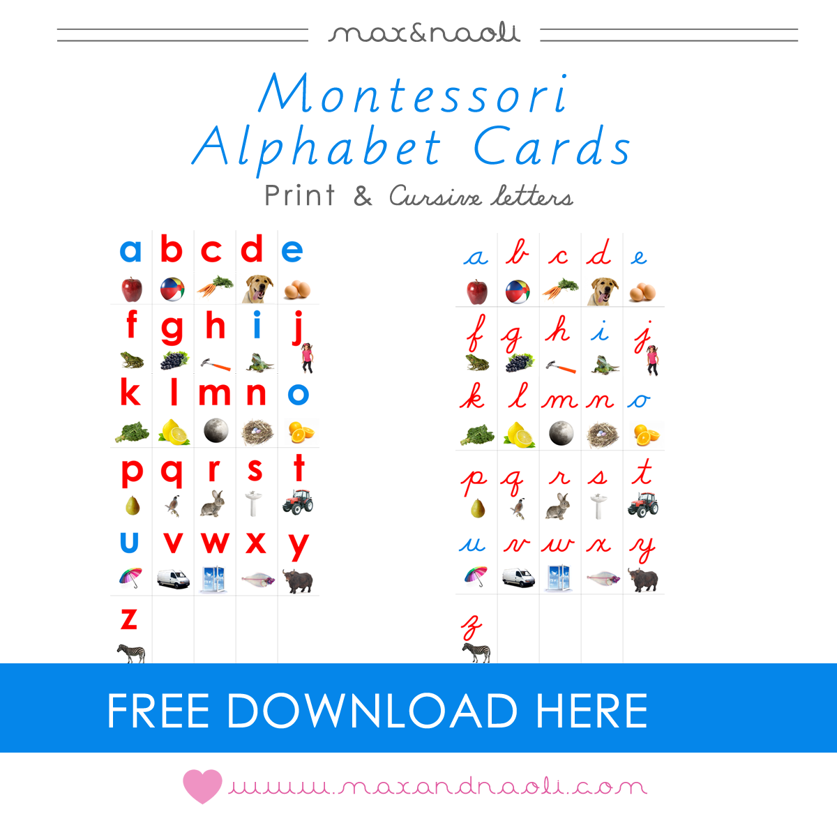 Free Montessori Alphabet Cards With Print And Cursive