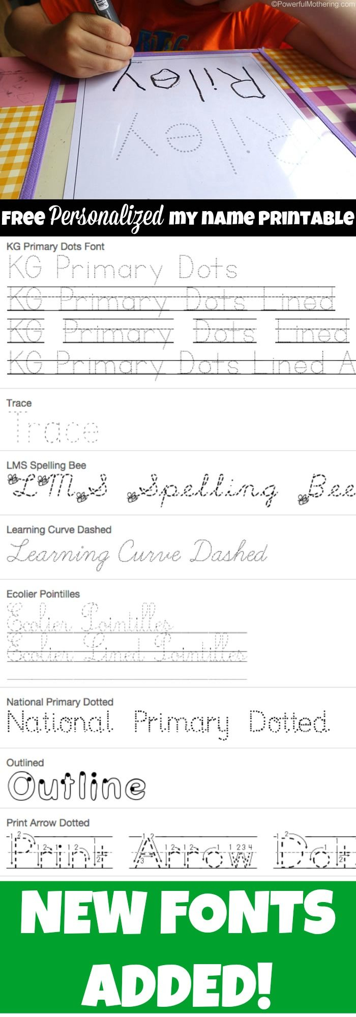 Free Name Tracing Worksheet Printable + Font Choices for Name Tracing Ideas