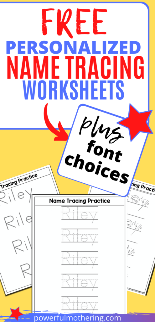 Free Name Tracing Worksheet Printable + Font Choices In 2020 Inside Tracing Name Riley