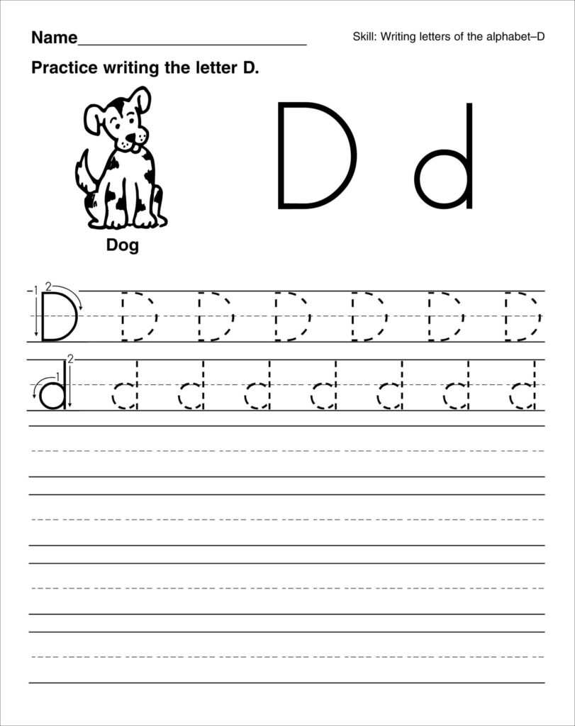 Free Name Writing Worksheets For Preschool Coloring Book Pertaining To Letter D Tracing Worksheets Free