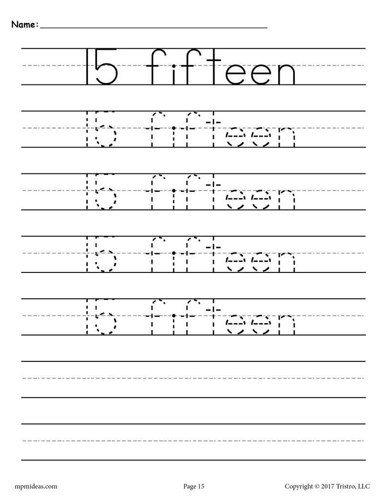 Free Number 15 Tracing Worksheet | Tracing Worksheets
