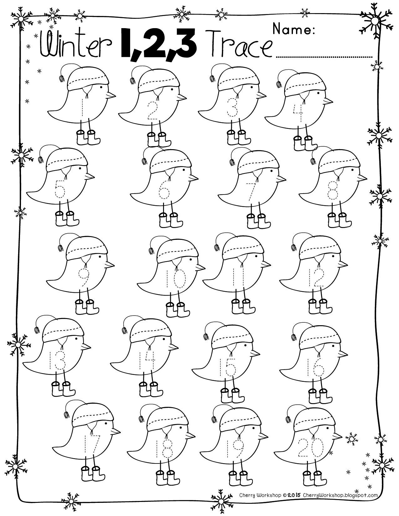 Free Numbers And Abc Winter Tracing Pages | Kids Math