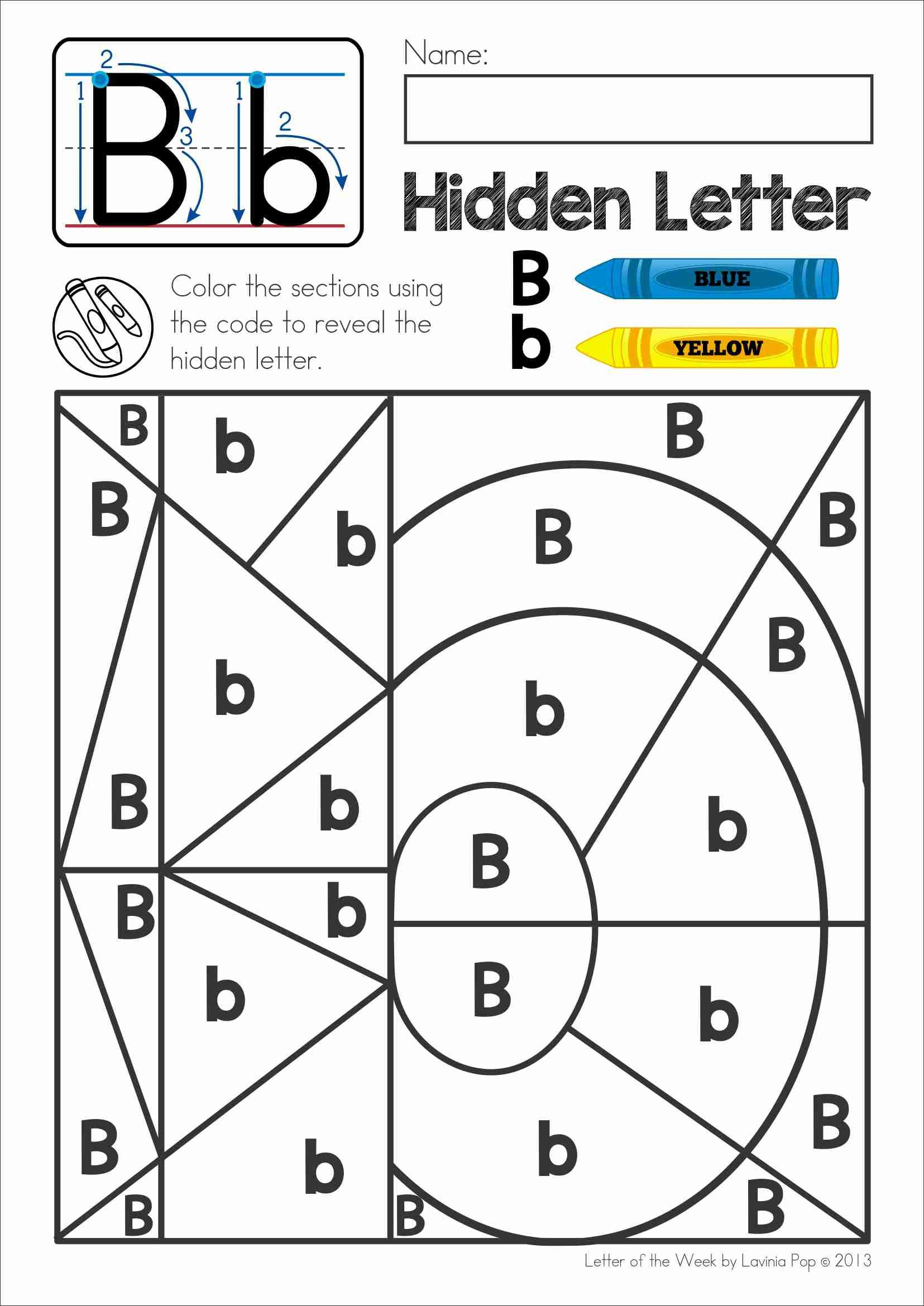 Free Phonics Letter Of The Week B. Colorcode To Reveal with regard to Letter H Worksheets Soft School
