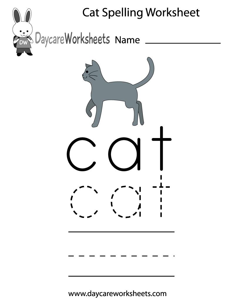 Free Preschool Cat Spelling Worksheet | Spelling Worksheets