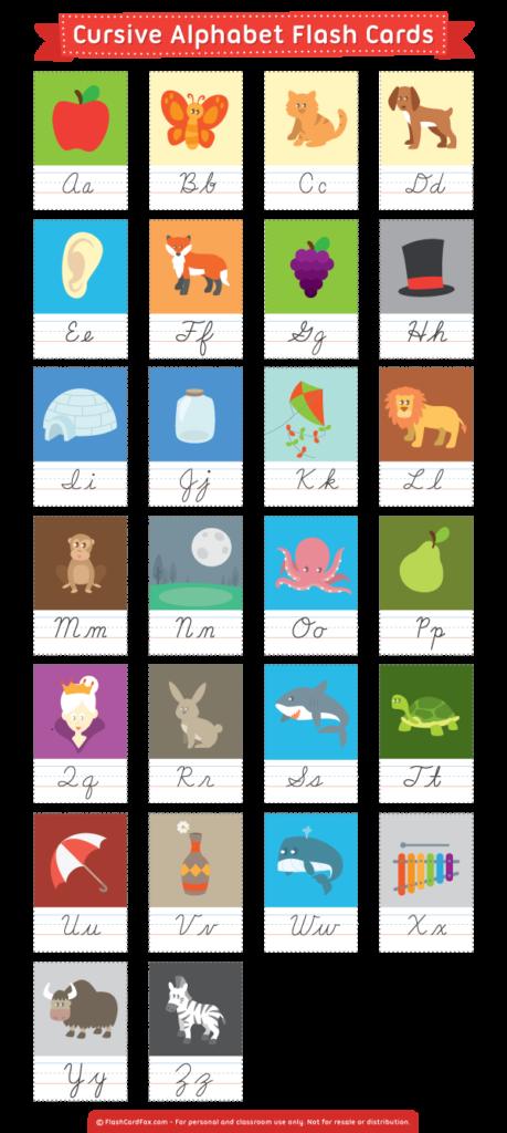 Free Printable Cursive Alphabet Flash Cards. Download Them