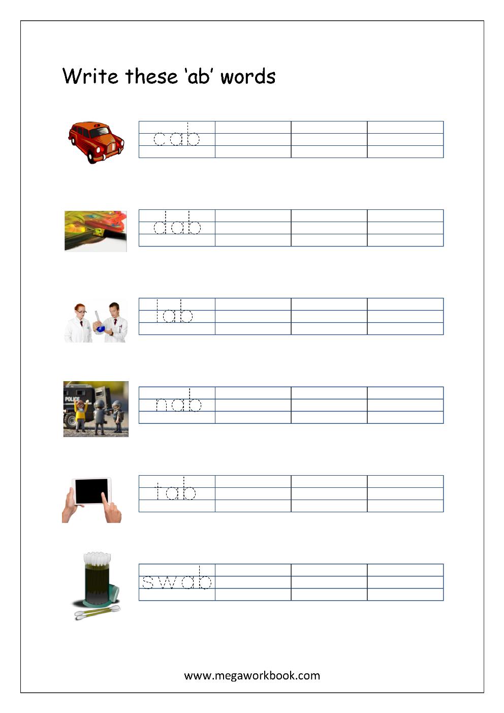 Free Printable Cvc Words Writing Worksheets For Kids - Three