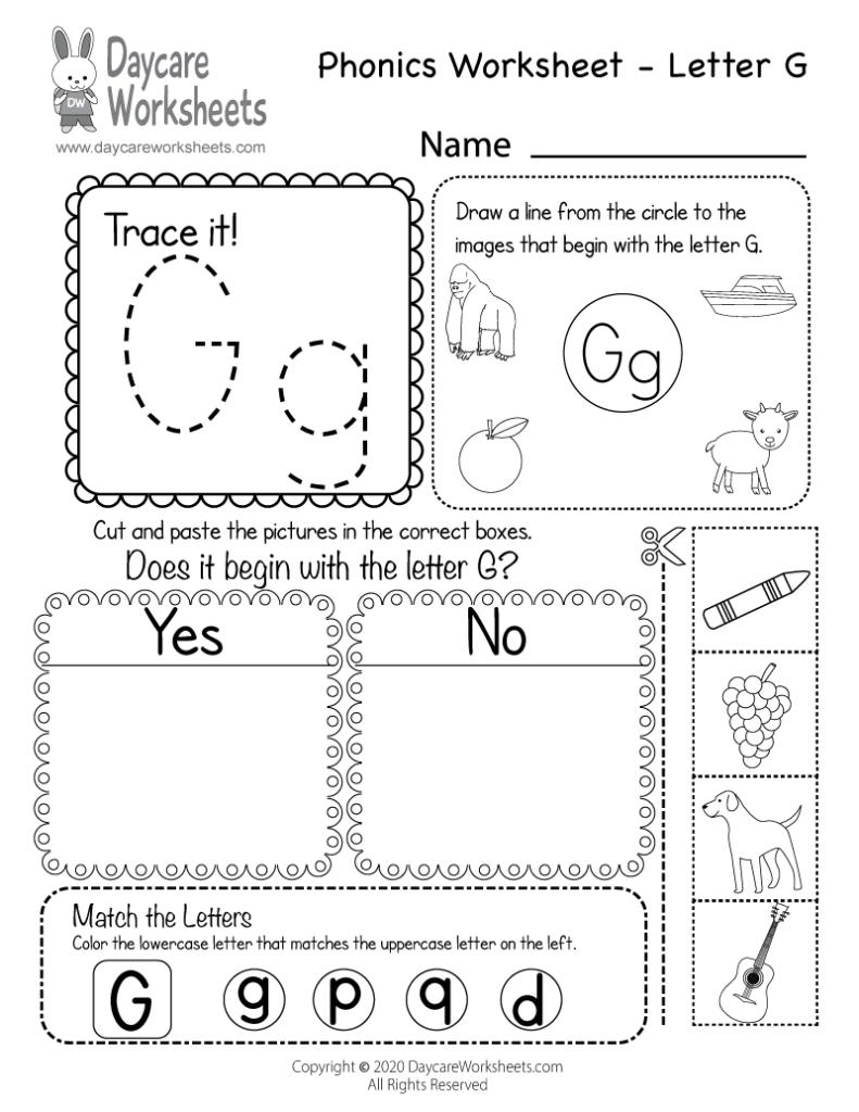 Free Printable Letter G Beginning Sounds Phonics Worksheet With Letter G Worksheets Free Printables