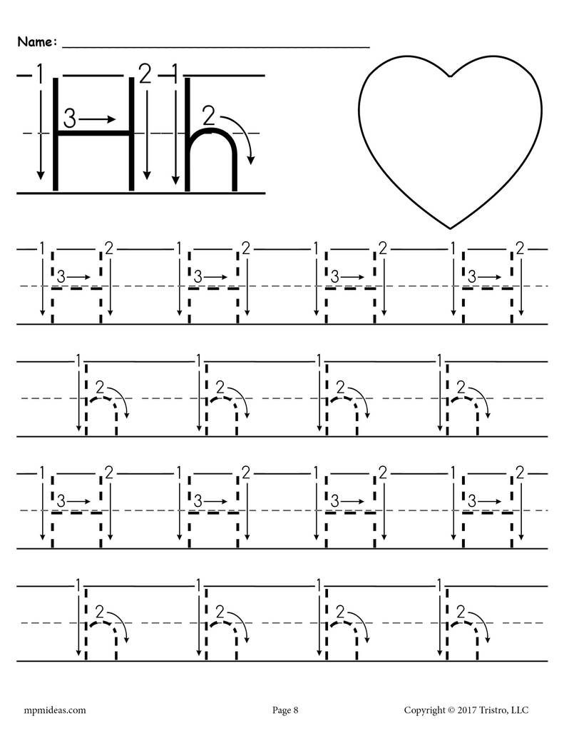 Free Printable Letter H Tracing Worksheet With Number And inside Alphabet Tracing Letter H