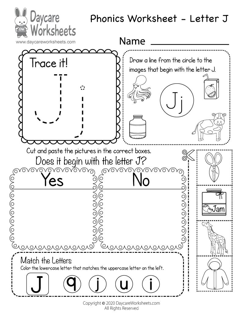 Free Printable Letter J Beginning Sounds Phonics Worksheet in Letter J Worksheets For Preschool