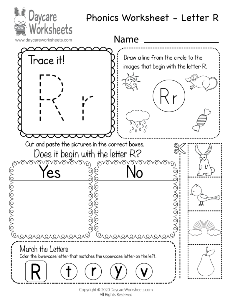 Free Printable Letter R Beginning Sounds Phonics Worksheet With Regard To Letter R Worksheets Free Printable