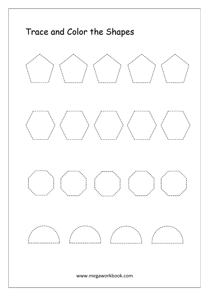 Free Printable Shapes Worksheets   Tracing Simple Shapes