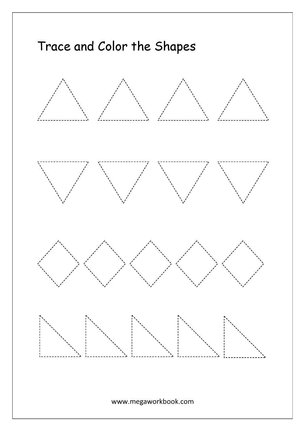Free Printable Shapes Worksheets - Tracing Simple Shapes
