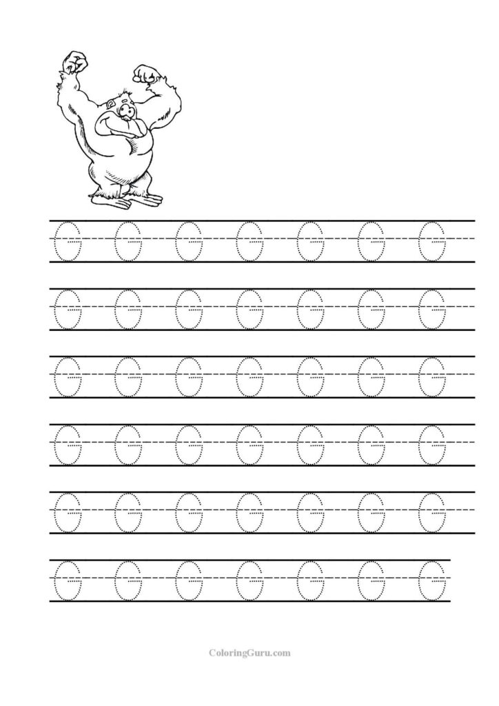 Free Printable Tracing Letter G Worksheets For Preschool Inside Letter G Tracing Printable