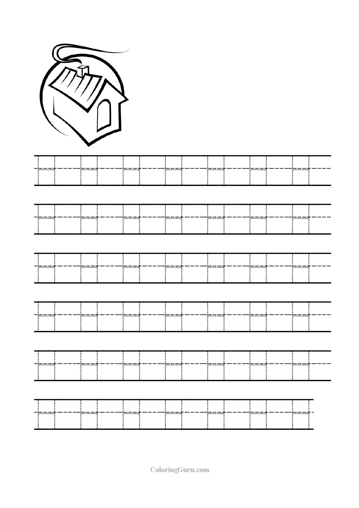 Free Printable Tracing Letter H Worksheets For Preschool for Letter H Tracing Preschool