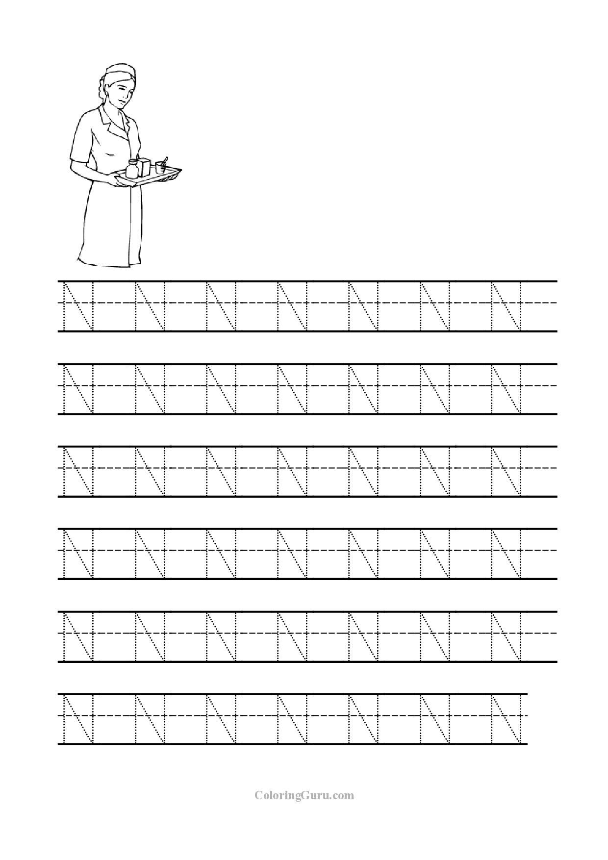 Free Printable Tracing Letter N Worksheets For Preschool with Letter N Tracing Page