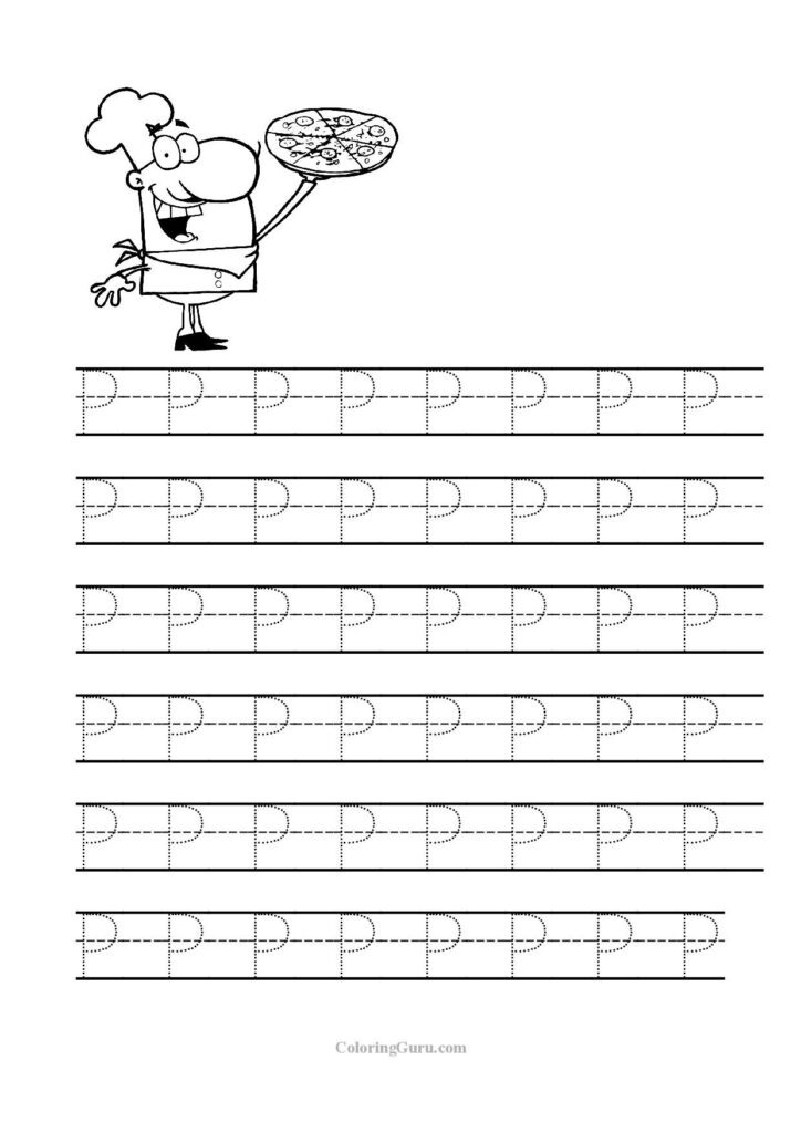 Free Printable Tracing Letter P Worksheets For Preschool Inside Letter P Tracing Worksheet