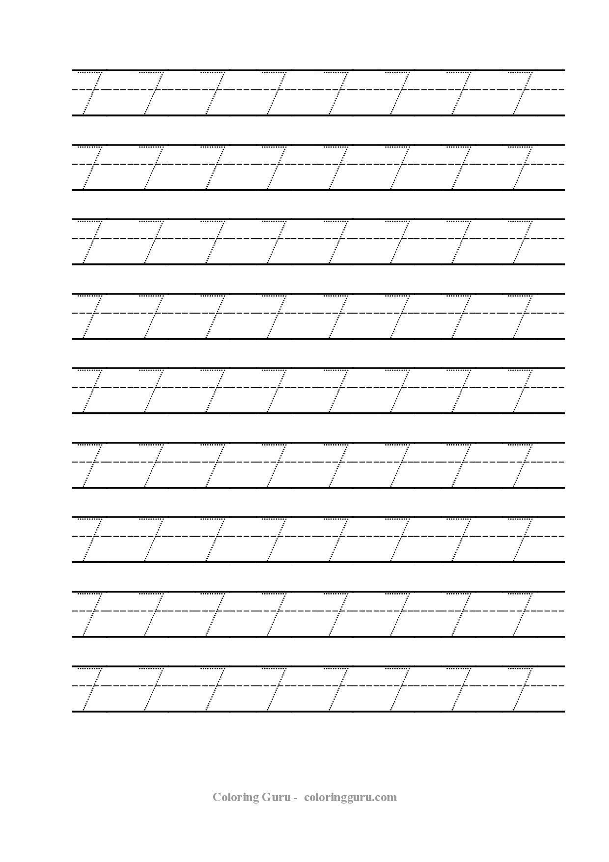 Free Printable Tracing Number 7 Worksheets | Kids Math