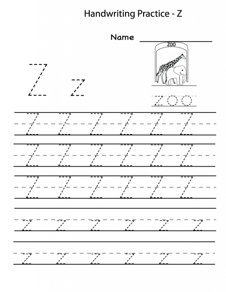 Free Printable Worksheets For Preschoolers For The Letter Z within Letter Z Tracing Sheet