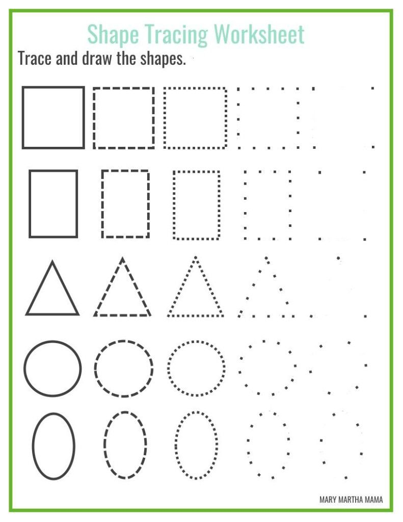 Free Shape Drawing Printables | Shape Tracing Worksheets