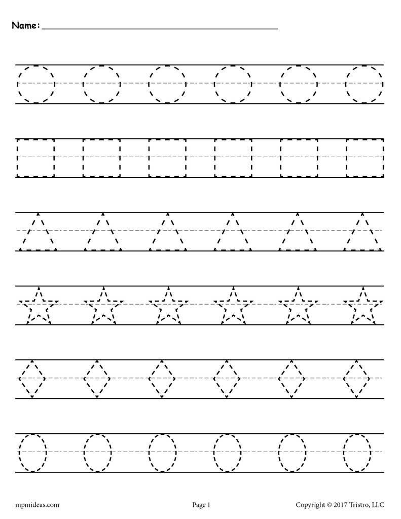 Free Shapes Tracing Worksheets! | Shape Tracing Worksheets