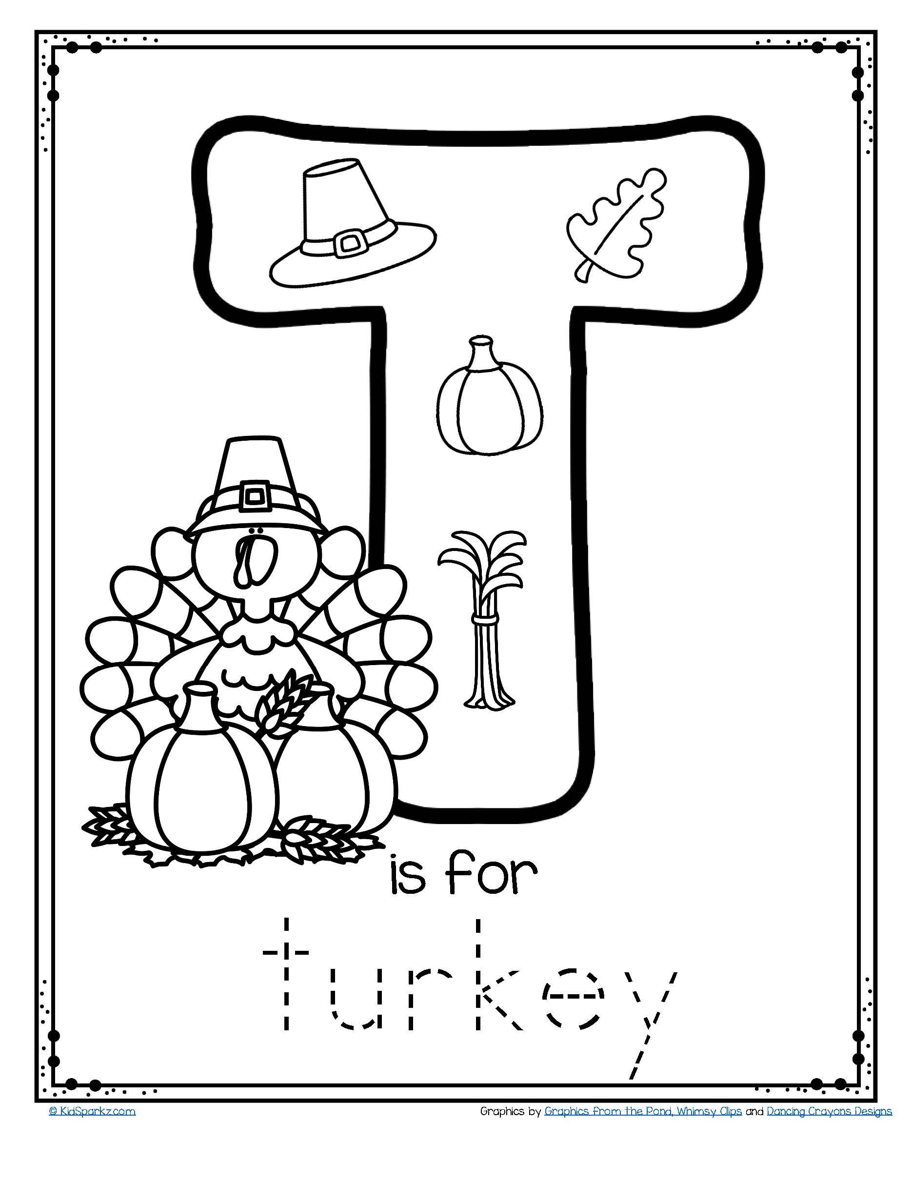 Free - T Is For Turkey Trace And Color Alphabet Printables