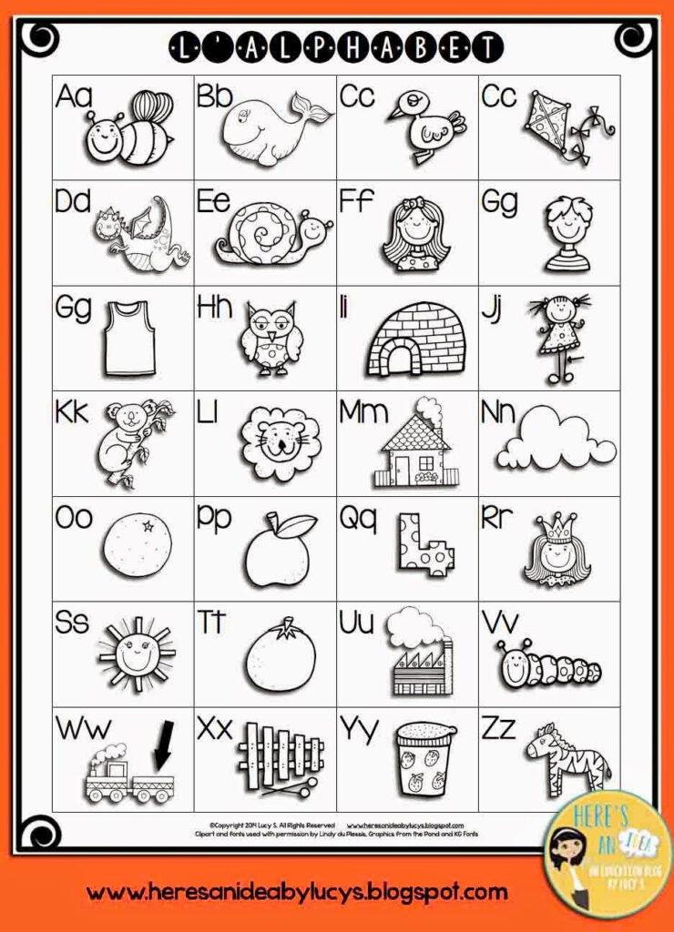 French Alphabet Chart   Letters & Images | French Alphabet Within Alphabet Worksheets In French