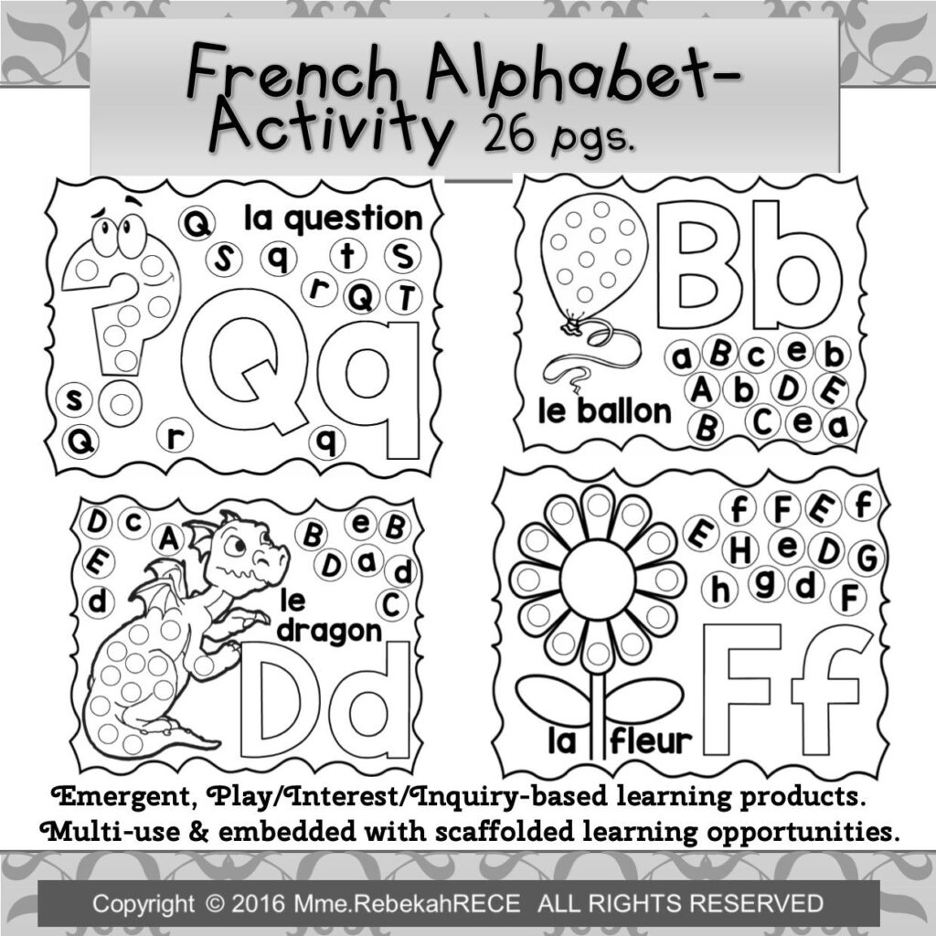 French Alphabet Literacy Activity For Playdough, Loose Parts Throughout Alphabet Worksheets In French