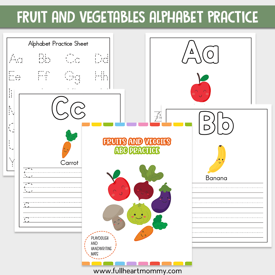 Fruit And Veggie Alphabet Worksheets A-Z Printable - Full with regard to Alphabet Worksheets A-Z Printable