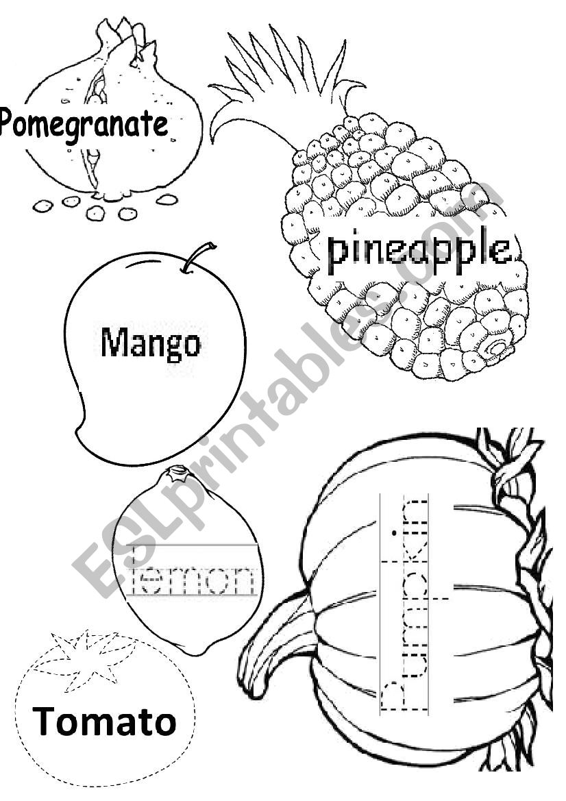 Fruit Tracing - 2 - Esl Worksheetisamira