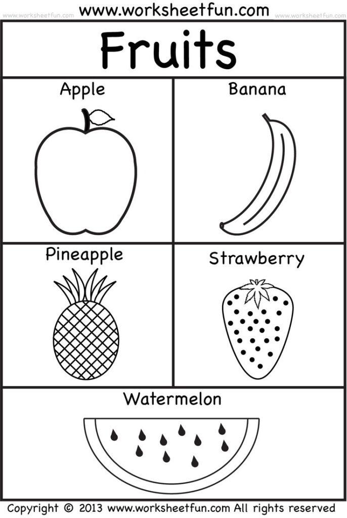 Fruits | Kindergarten Worksheets, Free Preschool Worksheets