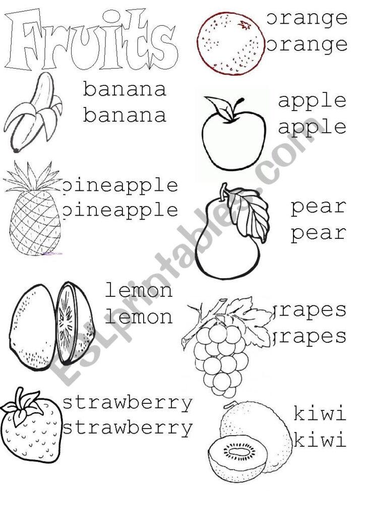 Fruits (Tracing)   Esl Worksheetasiulhg