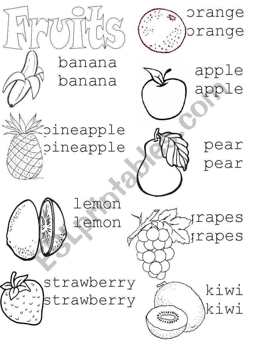 Fruits (Tracing) - Esl Worksheetasiulhg