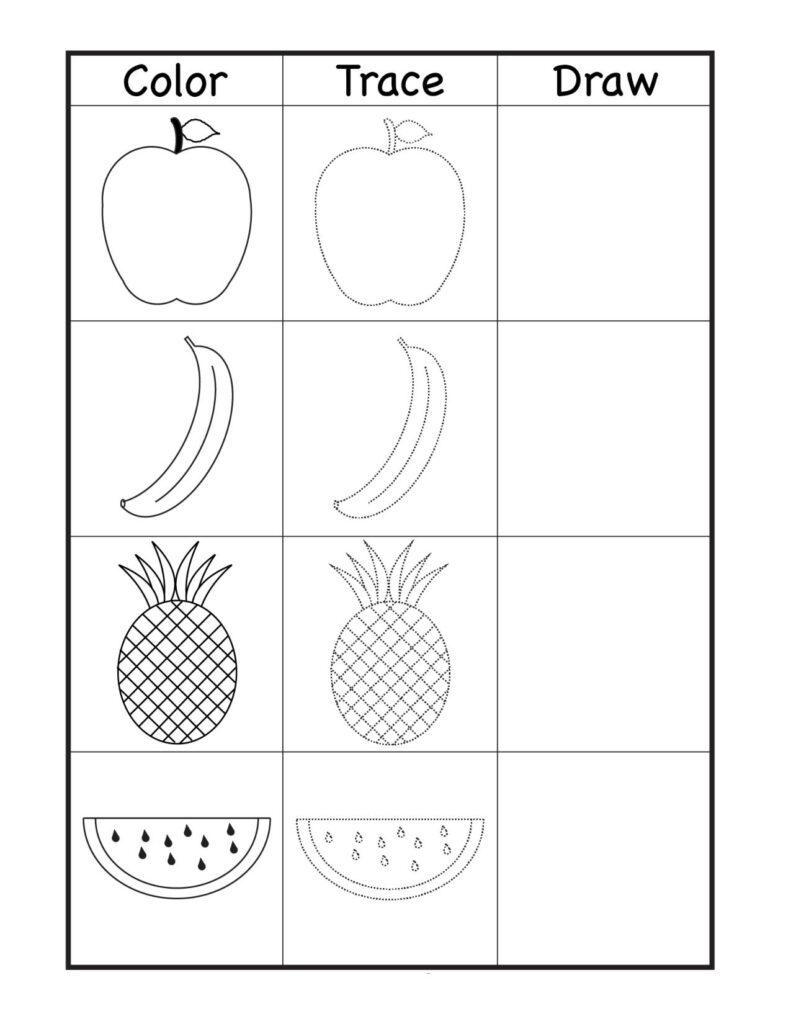 Fruits Worksheets For Kindergarten