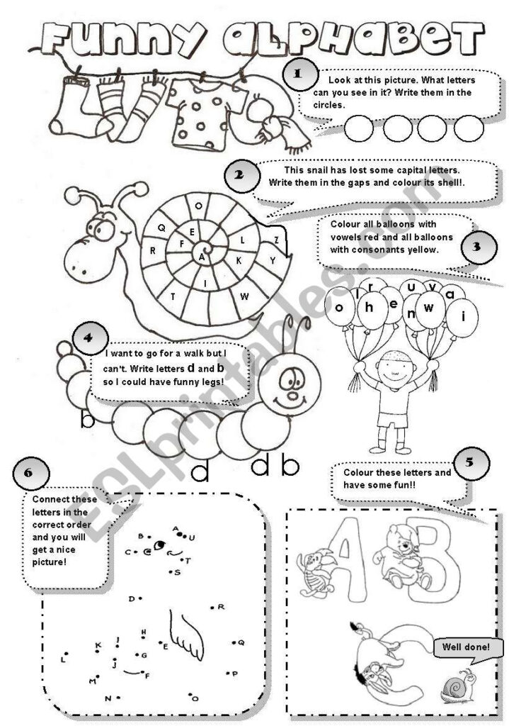Funny Alphabet!   6 Different Alphabet Activities For Young Throughout Alphabet Worksheets For Young Learners