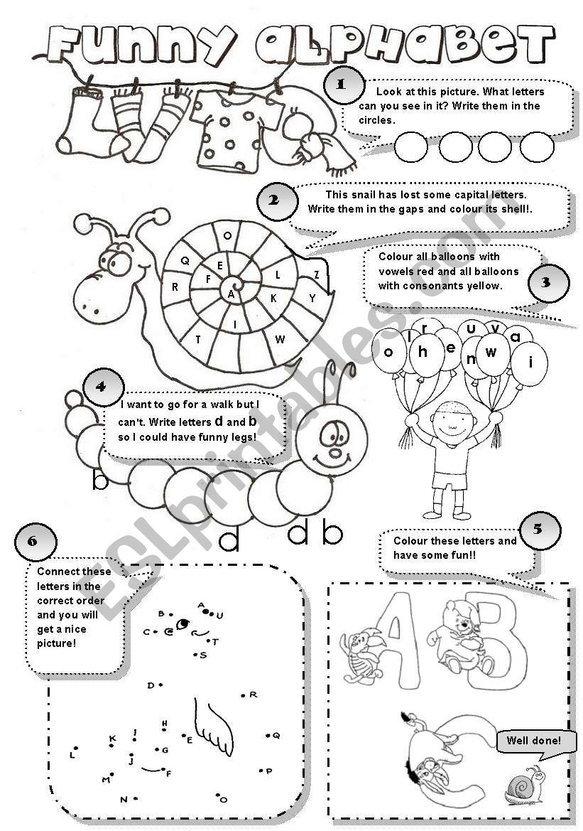 Funny Alphabet! - 6 Different Alphabet Activities For Young throughout Alphabet Worksheets For Young Learners