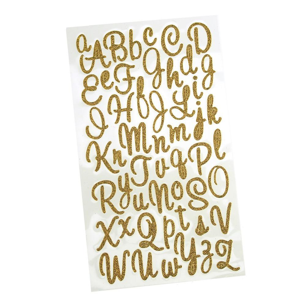 Glitter Cursive Alphabet Letter Stickers, 1-Inch, 50-Count, Gold -  Walmart