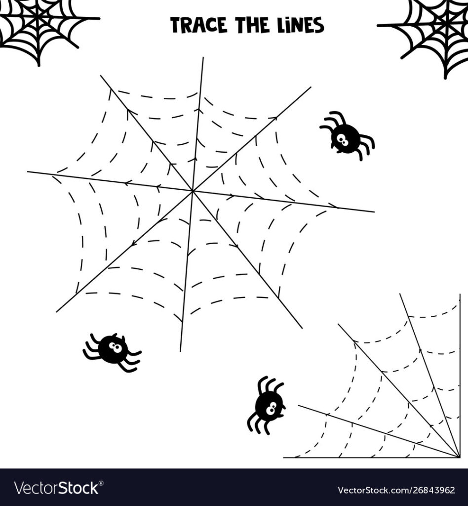 Halloween Worksheet Spider And His Web Tracing